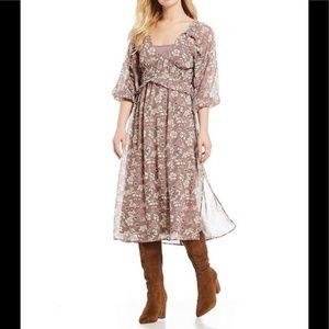 June & Hudson Floral Midi A-Line Dress